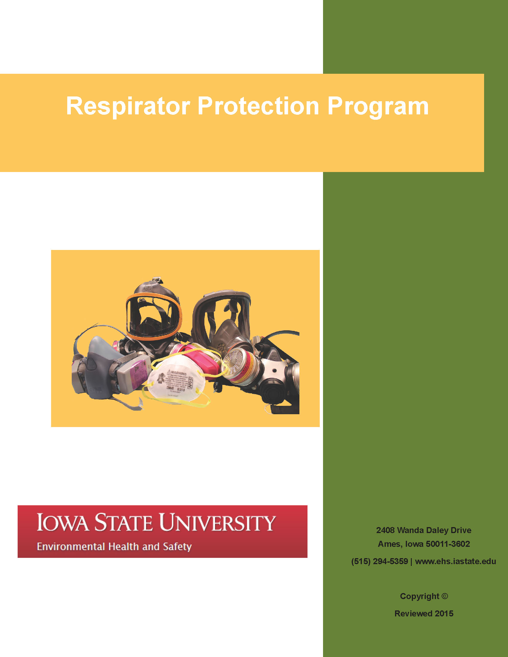 Respirators Environmental Health And Safety Iowa State University