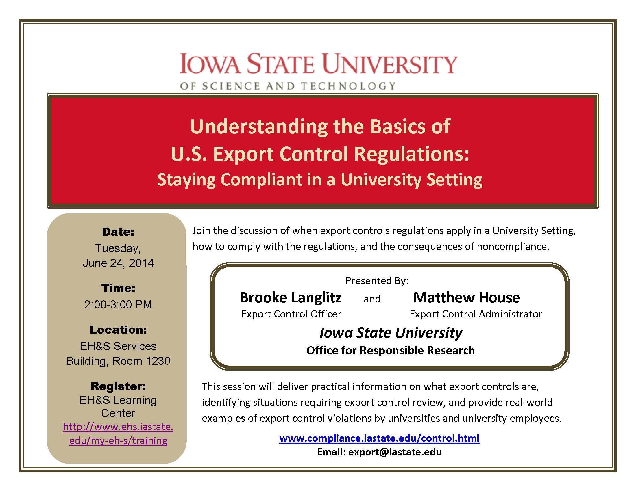 Understanding the Basics of U S  Export Control Regulations