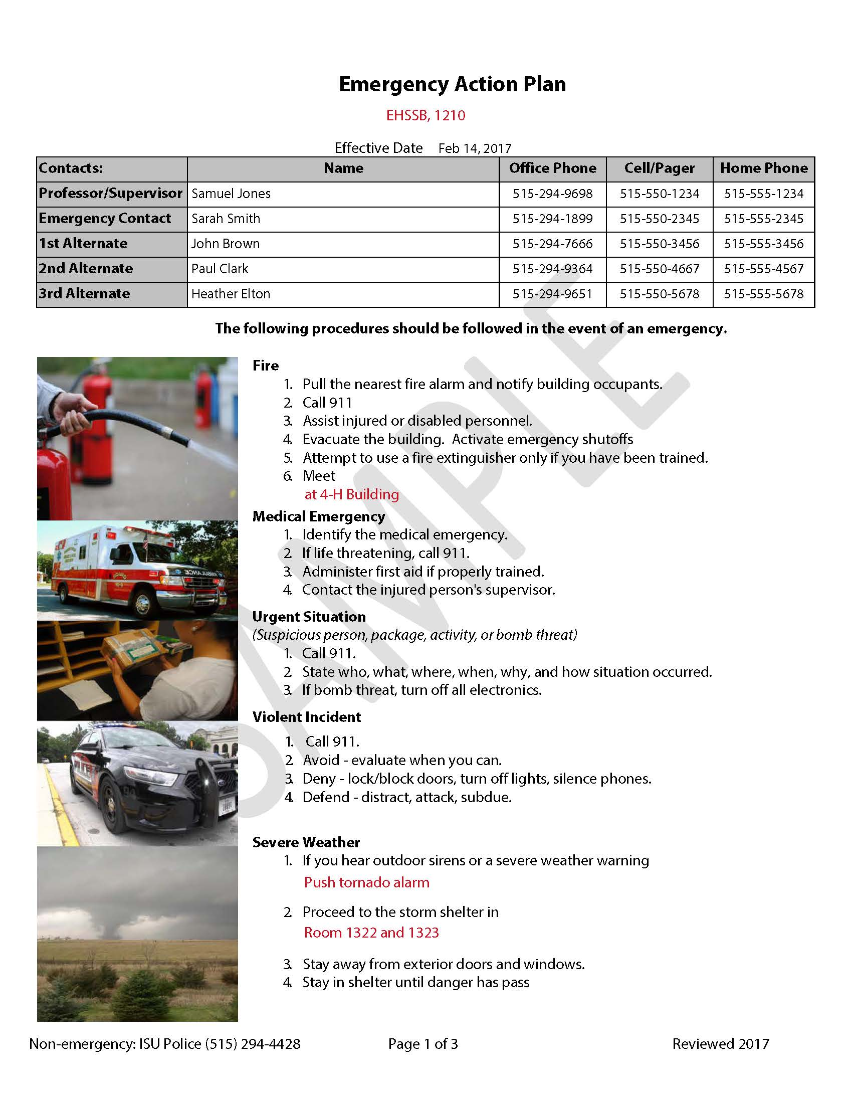 Emergency Action Plans – Emergency Action Plan Sample